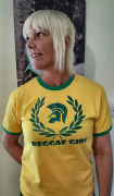 NEW REGGAE GIRL T-SHIRT YELLOW GREEN TRIM